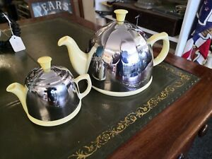 Vintage Insulated CELTIC art deco Teapot and Creamer. Yellow