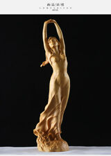 """9.2"""" Chinese Boxwood Wood Hand Carved Sexy Beauty Belle Girl Young Woman Statue"""