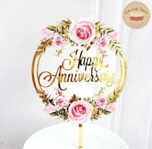 ⭐New Acrylic Gold Flower Anniversary Cake Topper for Anniversay Cake Decoration⭐