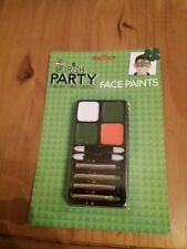 St Patricks day green white and orange face paint