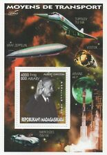 ALBERT EINSTEIN SPACE TRAVEL ZEPPELIN MERCEDES TRANSPORT MNH STAMP SHEETLET