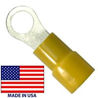 """100 Vinyl Insulated Yellow 12-10 AWG 1/4"""" Stud Ring Terminal Wire Connector USA"""
