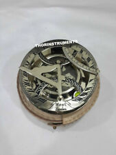 Nautical Brass Working Astrolabe Compass With White Leather Case Vintage Decor