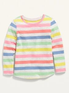 Old Navy Toddler Girl ~ Rainbow Stripe ~ Long Sleeve T-Shirt ~ Size 18-24M - 5T