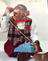 Vintage Monkey Boy on Blue Phone Birthday Greeting Card