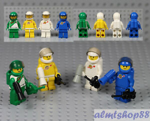 LEGO - 4x Lot Classic Space Astronaut - Green Yellow White Blue Minifig 70s 80s