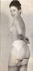 Org Vintage 1940s-50s Nude Sepia RP- Secretary- Panties Off- Shows Butt- Garter