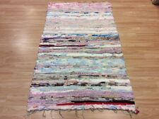 White Multi Colour Handwoven Rag Rug Funky Recycled Mix Textures 110x180cm 50%OF