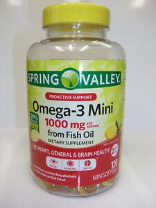 Spring Valley Omega-3 Mini 1,000 mg  120 Mini Softgels  Lemon Flavor