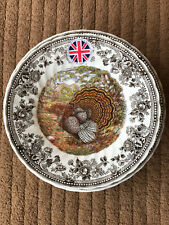 "12 Queen's Majestic Beauty 8"" SALAD DESSERT PLATES TURKEY Thanksgiving NEW!"