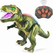 Led Light Up Remote Control Dinosaur Walking Roaring Realistic T-Rex in Green