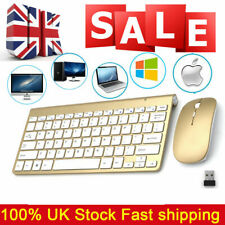 Wireless Keyboard and Cordless Mouse set 2.4G Gold Latptop Desktop Apple Mac
