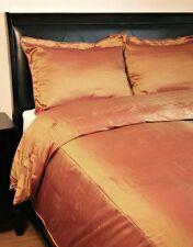 King Duvet Comforter Cover Set Gold Faux Silk 4 Piece-Clearance