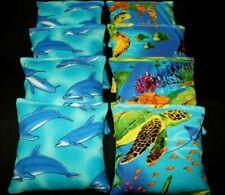 Tropical Salt Water Coral Fish, Turtles,Dolphins 8 Aca regulation Cornhole bags
