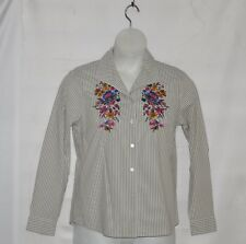 Linea by Louis Dell'Olio Embroidered Poplin Stripe Shirt Size S Camo