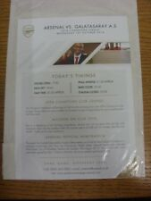 01/10/2014 Arsenal v Galatasaray [Champions League] - Official Single Sheet Colo