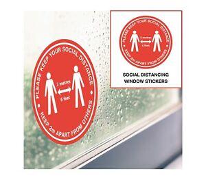 Social Distancing Stickers - Red 21cm - Window, Door & Wall Decals Shop Office