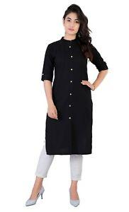 Women Kurta Kurti Designer Dress Indian Ethnic Tunic Top Bollywood Black Dress