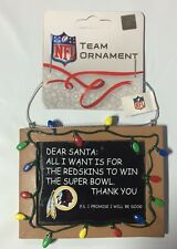 Washington Redskins Christmas Tree Ornament Chalkboard All I want is a Superbowl
