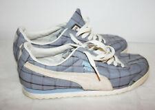 Womens PUMA Blue Plaid Shoes Sneakers Non Marking Sole 8 1/2 W  Wide VDM 0207