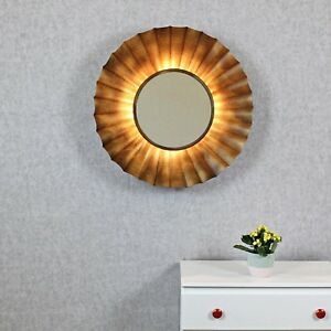 Zeus Antique Copper Sunburst Rays Light Wall Mirror