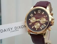 New DAISY DIXON Watch Burgundy Leather strap Day & Date RRP £79 ! (DX3
