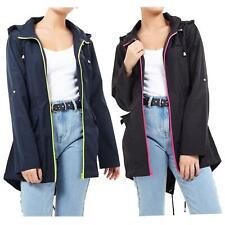 New Womens Show proof Contrast Neon Zip Fishtail Hooded Mac Raincoat Jacket 8-24