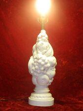 Vintage, Hollywood Regency White Pottery Fruit Table Lamp