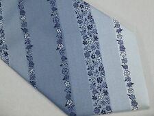 Mens Botany 500 Vintage Necktie Wide Tie Blue Ombre Striped Flowers Tropical