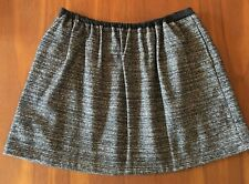 COUNTRY ROAD Black Grey White Fleck Wool Cotton Mix Stretchy Waist Mini Skirt L