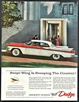 1957 DODGE Custom Royal Lancer 4-door Hardtop Sedan Red and White Car Photo AD