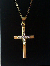 9ct gold yellow & white gold cross & yellow gold 16.5 inch fine chain 9k 1.4g