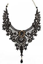 femmes beau vintage dentelle noire collier avec perles victorien ras du cou