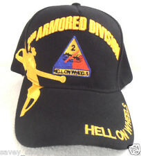 MILITARY CAP 2nd ARMORED DIVISION ARMY  BLACK HAT HELL ON WHEELS