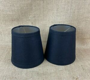 """Set of 2 - 6"""" Black Fabric Clip On Shades with Silver Lining"""