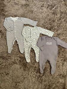 BABY BOYS GREY BABYGROWS SLEEPSUITS BUNDLE, TINY BABY COMBINE POST