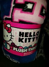 HELLO KITTY BY SANRIO PLUSH THROW 50 x 60 GIRL'S HK ALL OVER BLANKET BLUE PINK