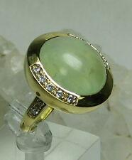 HSN Marley Simon Jewelry Mesmerizing Prehnite & CZ Ring Gold Plated 925 SS SZ 6