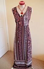 KATIES BOHO Brown White MAXI DRESS Size 14 BNWT NEW Long Paisley Stripe Orange