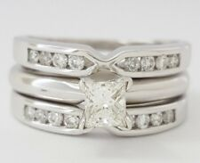 0.54 ct 14K White Gold Princess Diamond Engagement Ring & Wedding Band Jacket