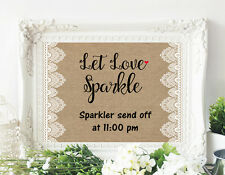 Sparkler Send Off Wedding Table Print - Burlap & Lace Look