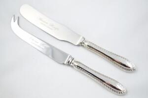 WALKER & HALL SILVER HANDLED CHEESE SERVING SET FEATHER EDGE PATTERN 1921