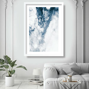 Abstract Painting Art Print Blue & White Ocean Contemporary Wall Poster Decor