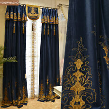 British Vintage Luxury blue embroidered thick cloth blackout curtain drape B674