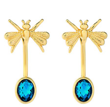 New Butterfly Bee Insect Gold &Turquoise Blue Crystal Detachable Stud Earrings