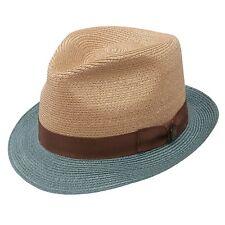 de512e34 Dobbs Champion Straw Hat Fedora Beige/turq Size 7 1/8 Oval 1 3