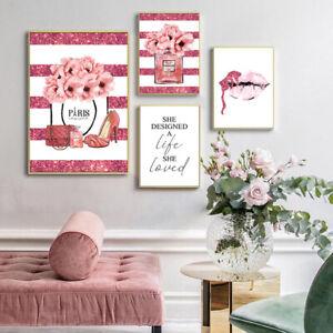 Flower Perfume Fashion Poster Eyelash Lips Makeup Print Canvas Art Painting