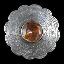 ANTIQUE SCOTTISH SILVER ROUND THISTLE CITRINE BROOCH CIRCA 1860