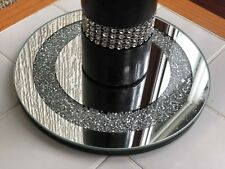 20CM CRUSHED JEWELS DIAMANTE MIRRORED CANDLE PLATE BLING WEDDING TABLE ROUND
