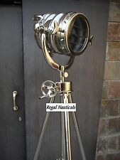 Big Chrome Search Light Floor lamp Nautical casting photographic tripod stand
